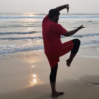 KVR Zameel practicing Kalari on the beach.